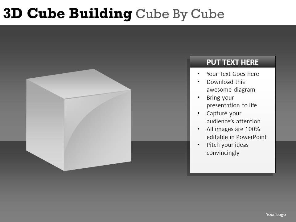 3d cube building cube powerpoint presentation slides db, Modern powerpoint