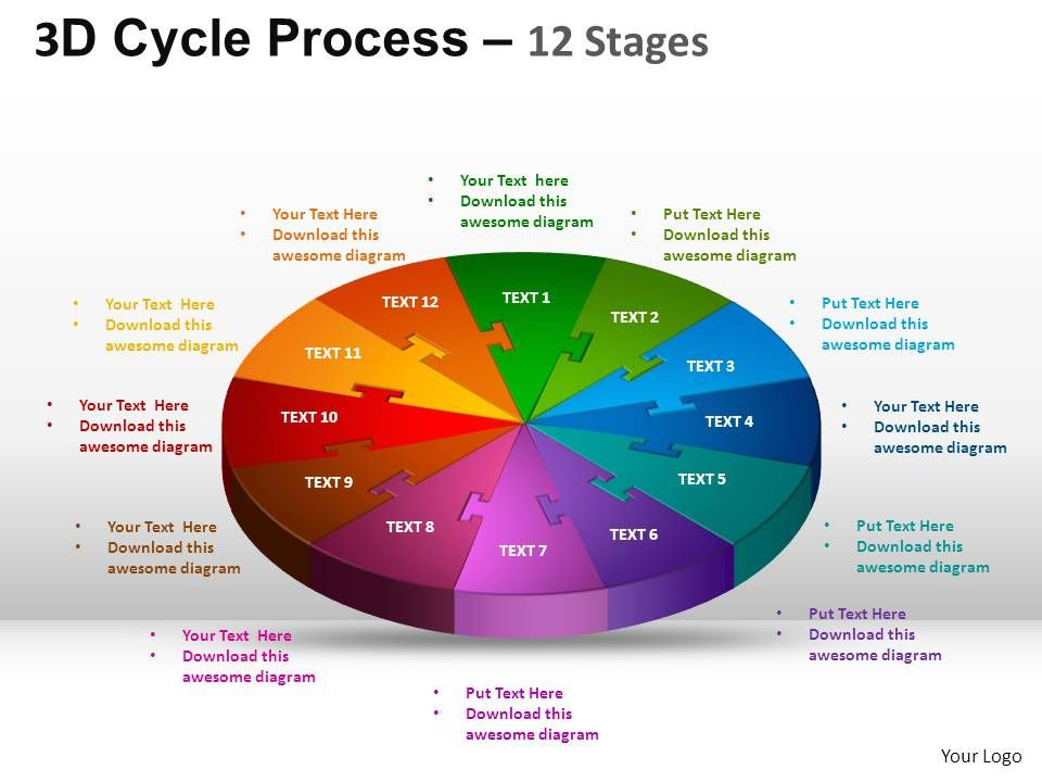 3d cycle process flow chart 12 stages style 1 ppt templates 0412