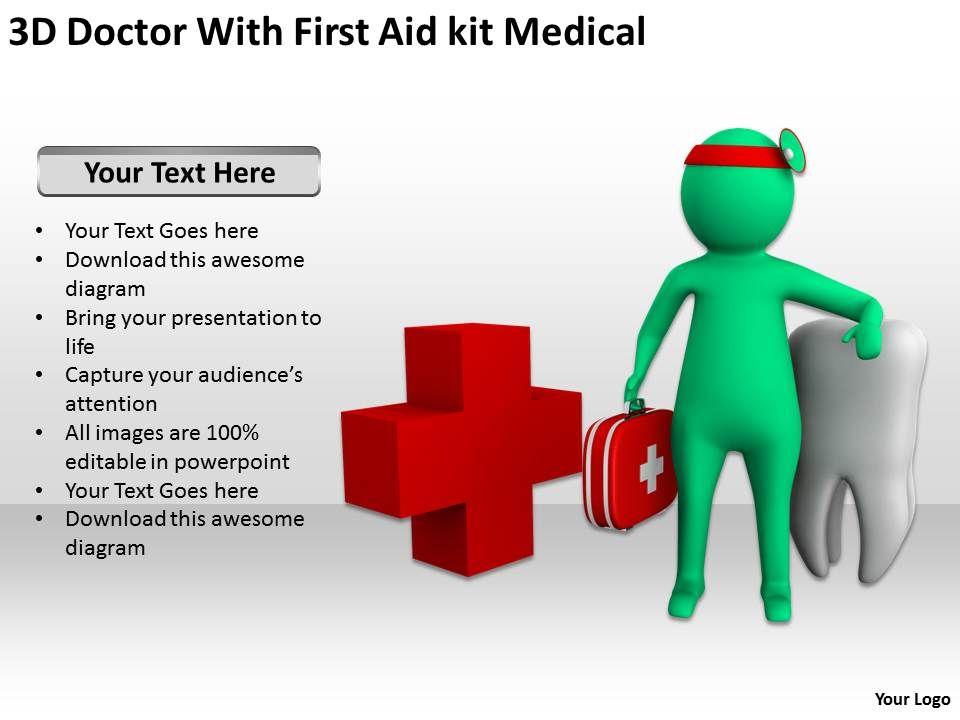 3d doctor with first aid kit medical ppt graphics icons powerpoint. Black Bedroom Furniture Sets. Home Design Ideas
