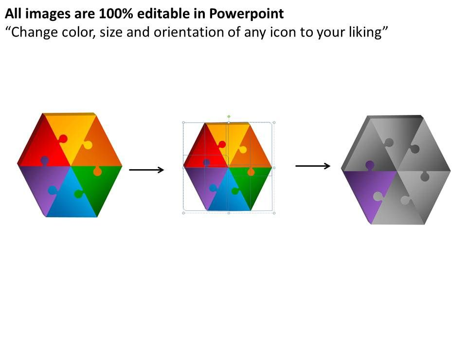 3D Hexagon Puzzle Pieces Planning Powerpoint Slides And Ppt ...