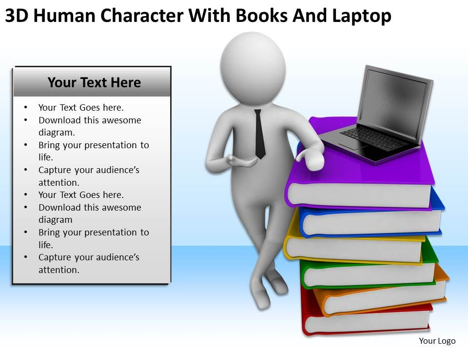 3d human character with books and laptop ppt graphics icons, Presentation templates