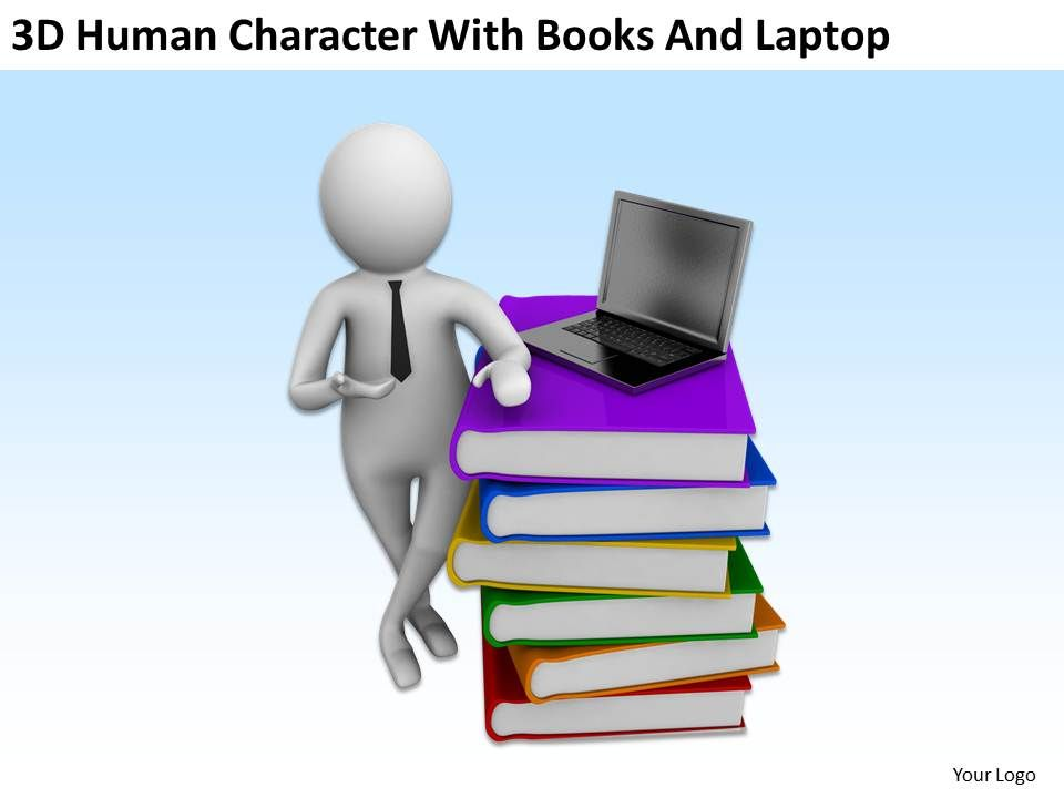 3d Character Design Books : D human character with books and laptop ppt graphics