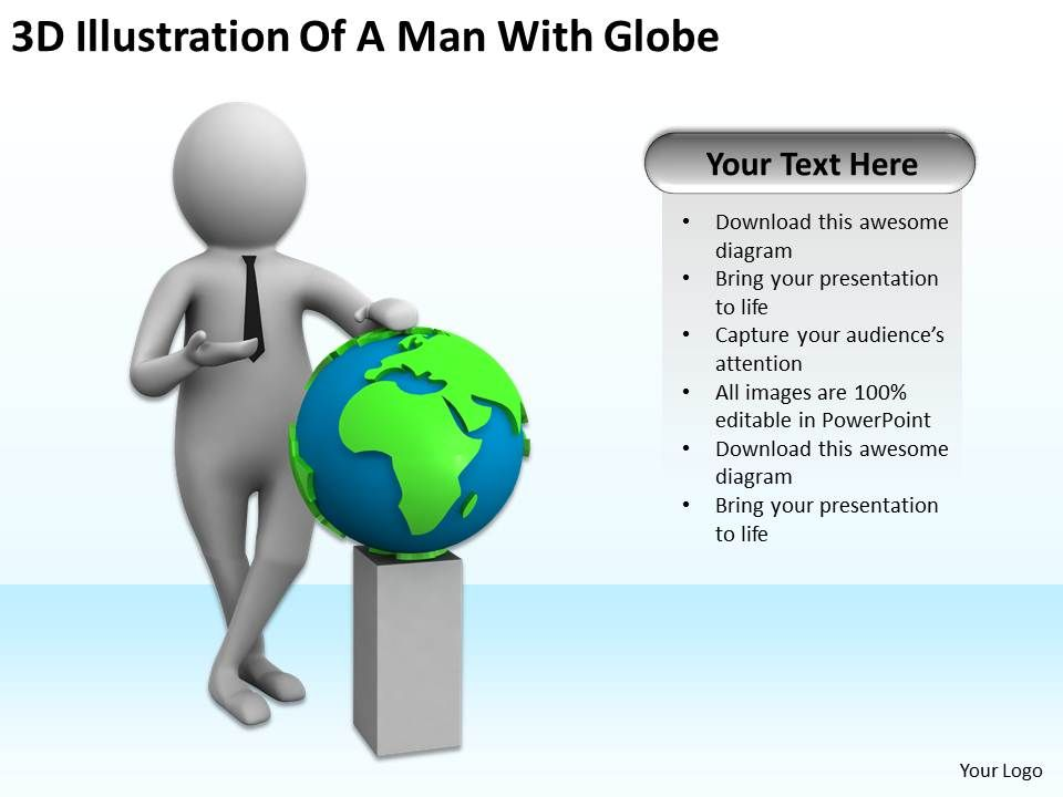 3d illustration of a man with globe ppt graphics icons powerpoint