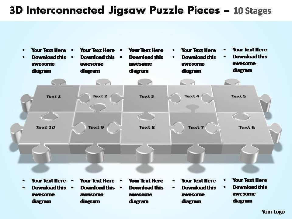 3d_interconnected_jigsaw_puzzle_pieces_10_stages_powerpoint_templates_Slide01