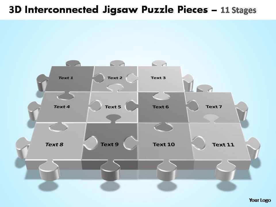 3d_interconnected_jigsaw_puzzle_pieces_11_stages_powerpoint_templates_Slide01