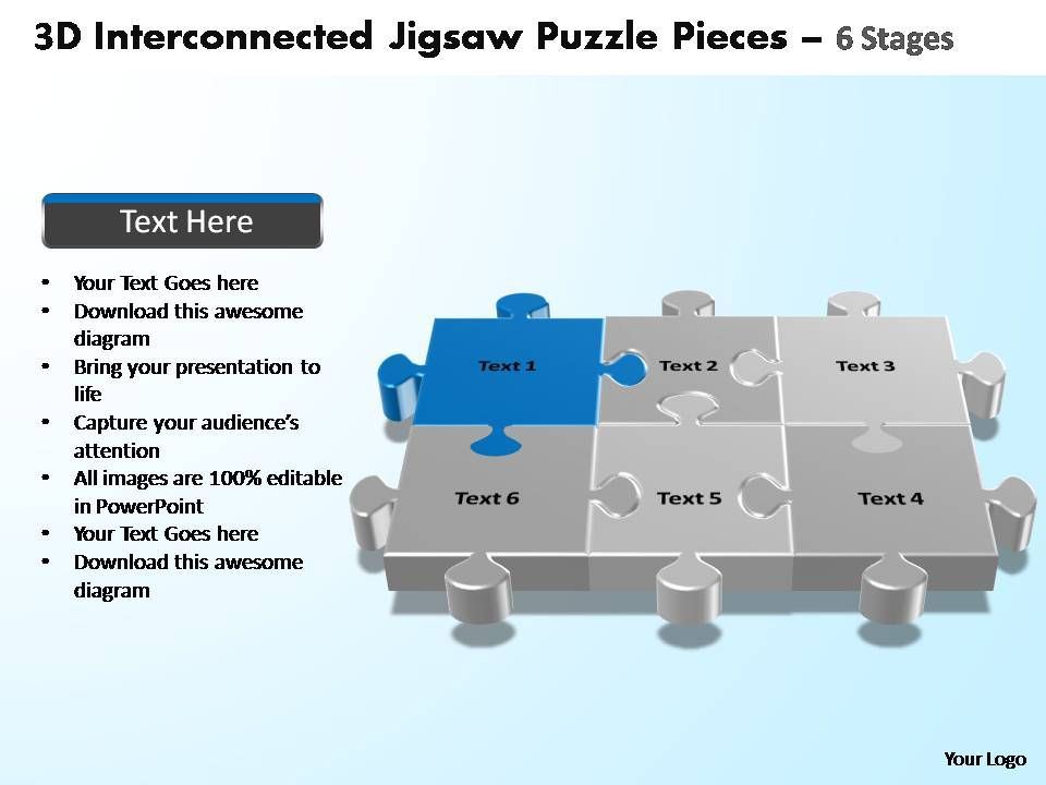 3d interconnected jigsaw puzzle pieces 6 stages powerpoint, Modern powerpoint
