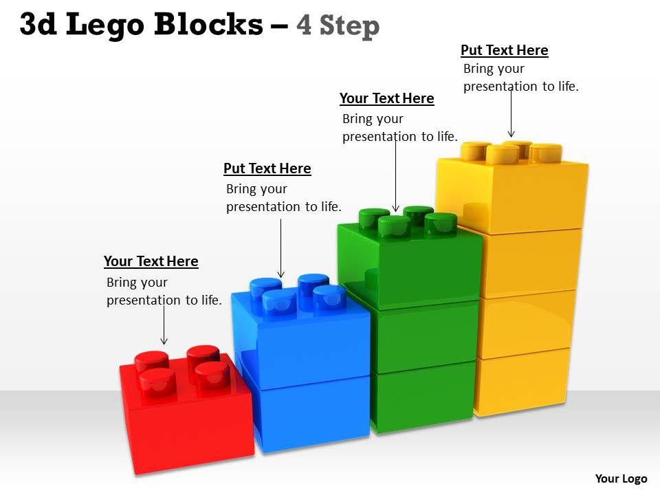 3d lego blocks 4 step presentation powerpoint diagrams