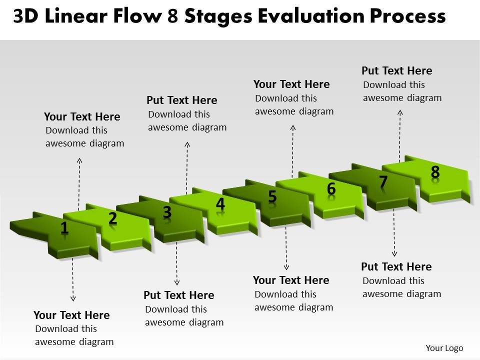 3d_linear_flow_8_stages_evaluation_process_manufacturing_chart_powerpoint_templates_Slide01
