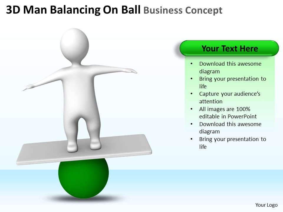 3d_man_balancing_on_ball_business_concept_ppt_graphics_icons_Slide01