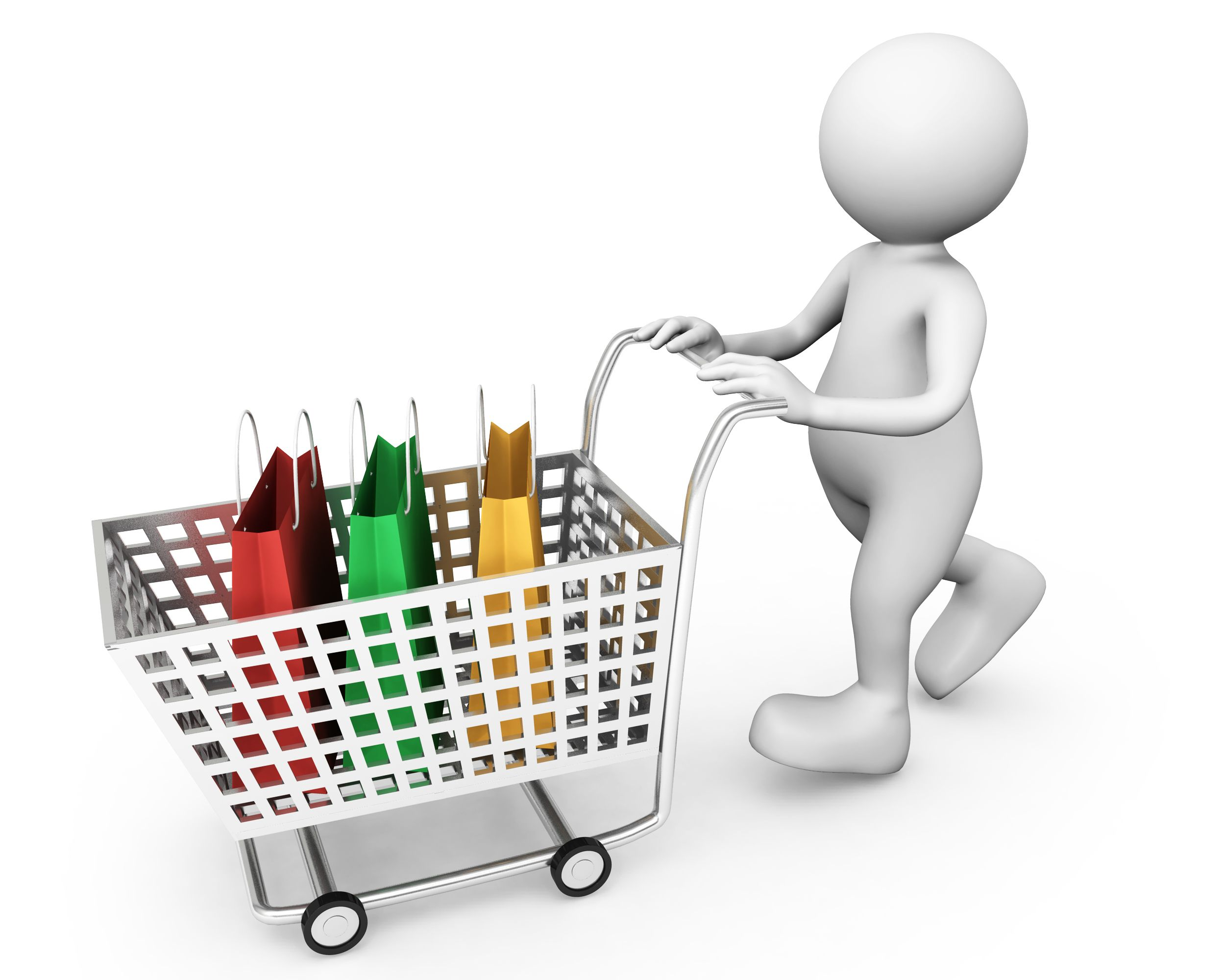 3D Man Carrying Shopping Bags In Carts Stock Photo | PowerPoint ...