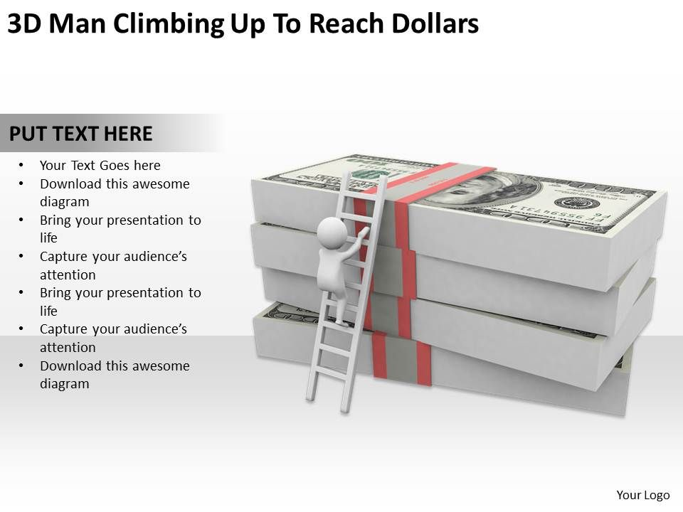 3d_man_climbing_up_to_reach_dollars_ppt_graphics_icons_powerpoint_Slide01