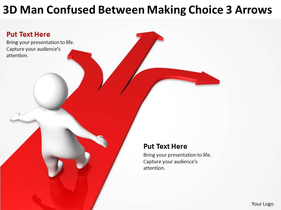3d_man_confused_between_making_choice_3_arrows_ppt_graphics_icons_Slide01