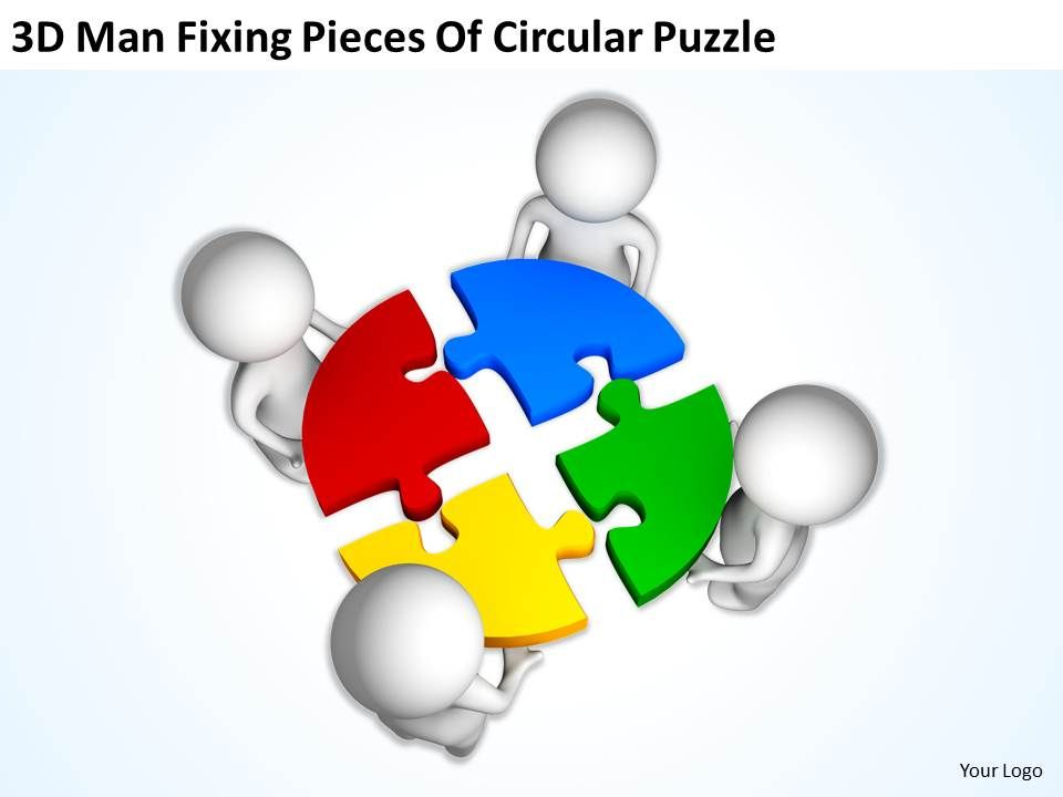 3d man fixing pieces of circular puzzle ppt graphics icons, Modern powerpoint