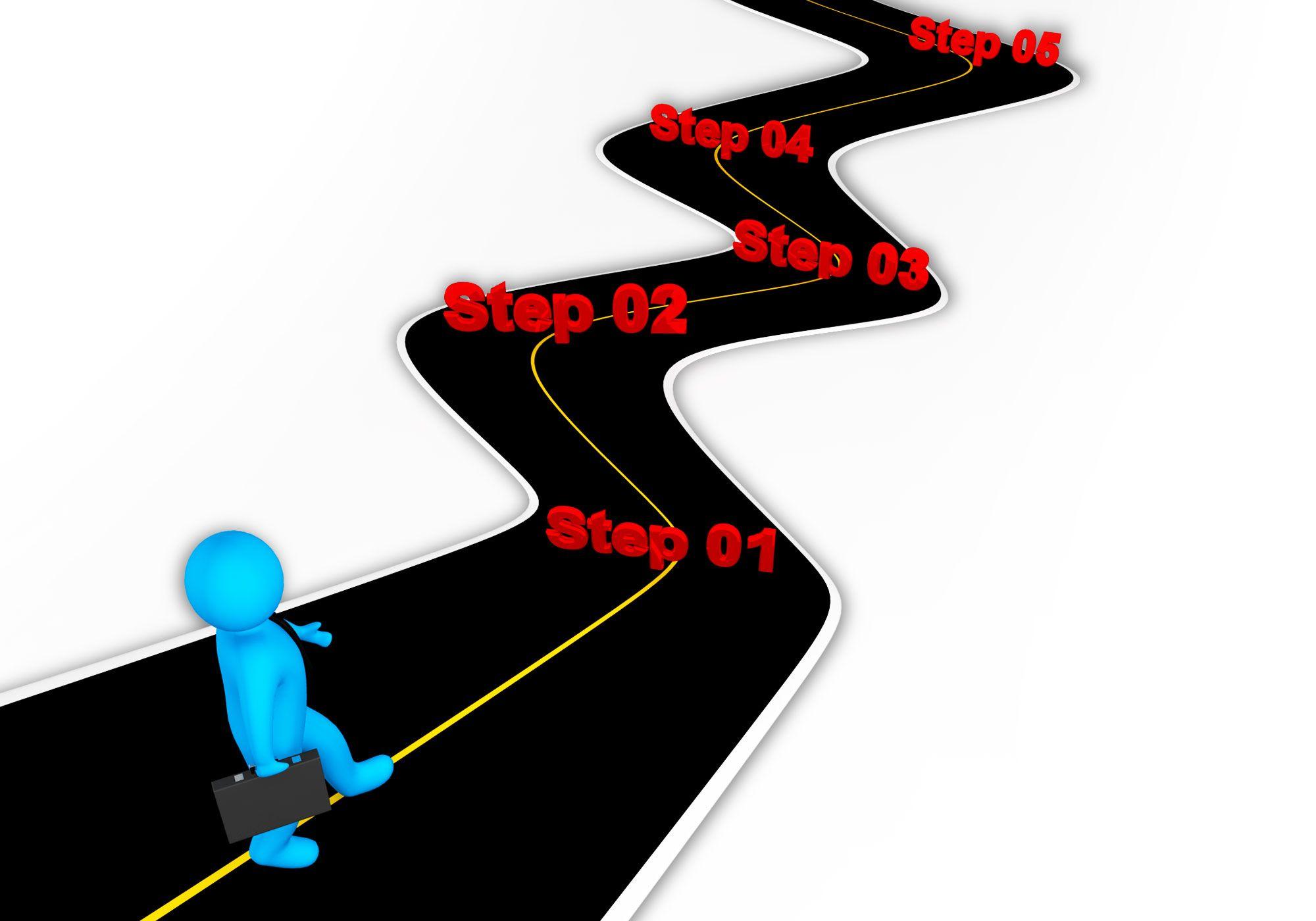 3d man following roadmap for success stock photo template