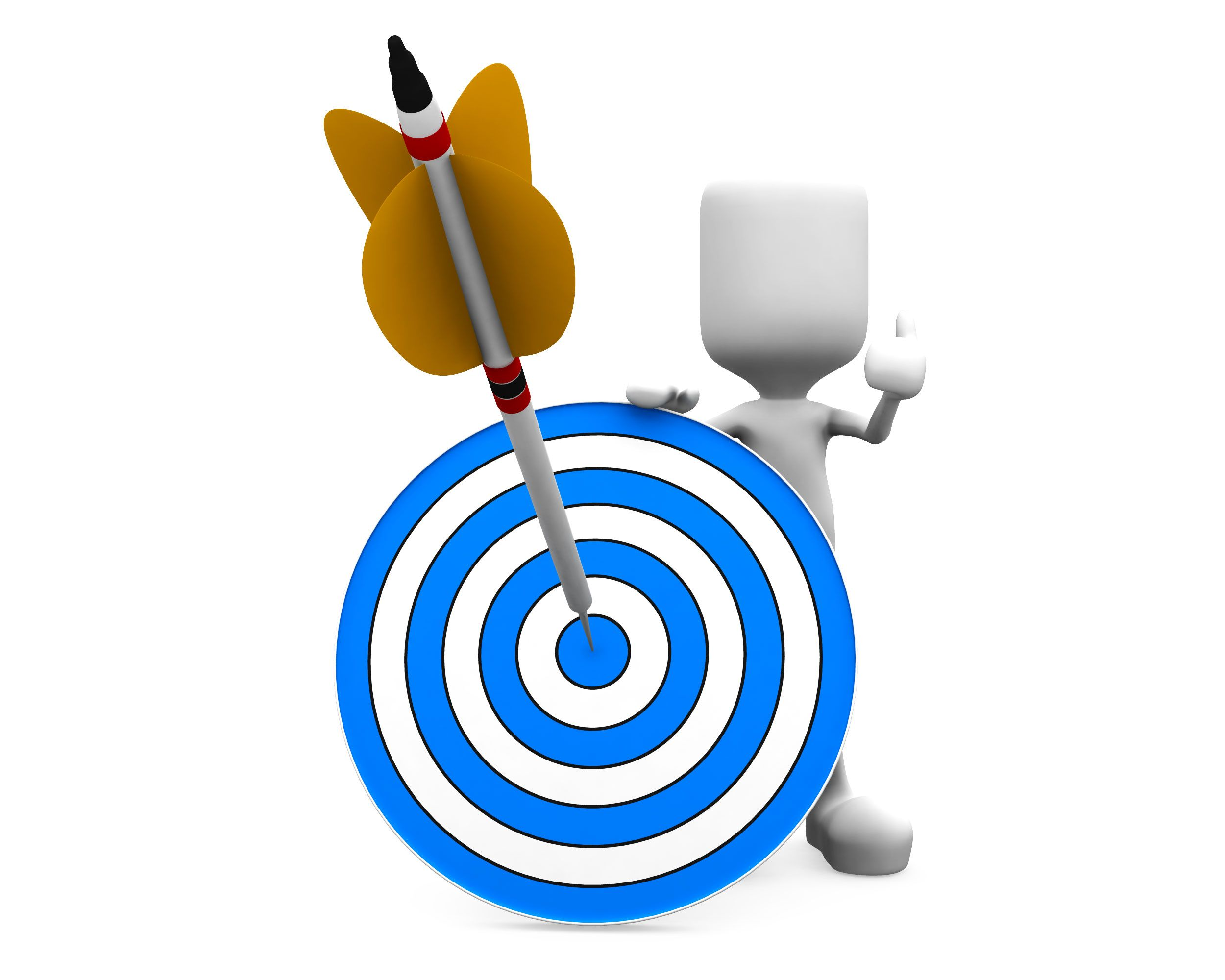 3d Man Holding Blue Target Dart With Arrow Hitting The Stock Photo Slide01