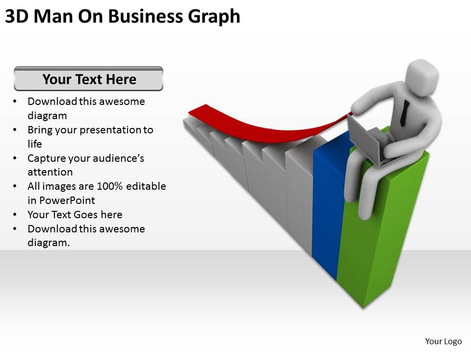3d_man_on_business_graph_ppt_graphics_icons_powerpoint_Slide01