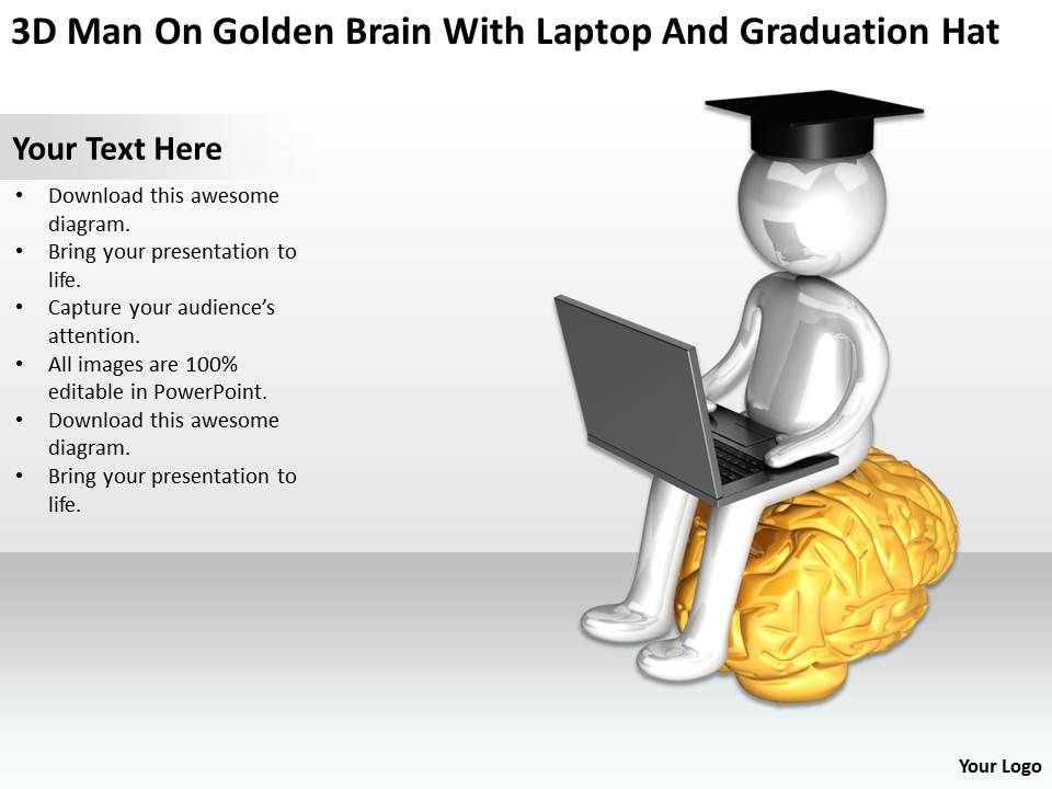 3d_man_on_golden_brain_with_laptop_and_graduation_hat_ppt_graphics_icons_Slide01