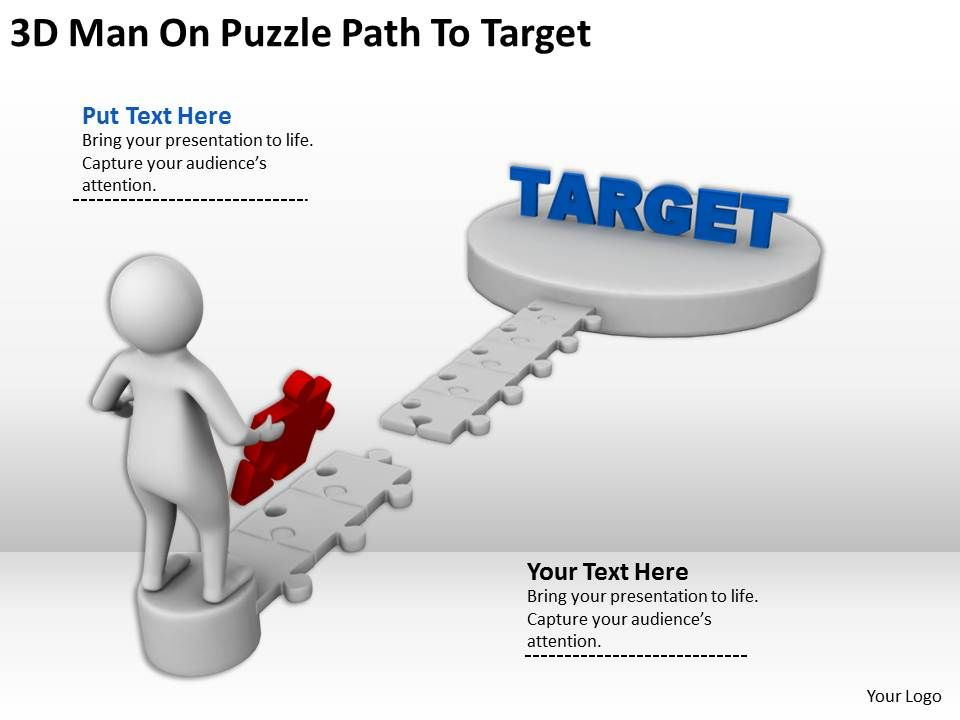 3d_man_on_puzzle_path_to_target_ppt_graphics_icons_powerpoint_Slide01