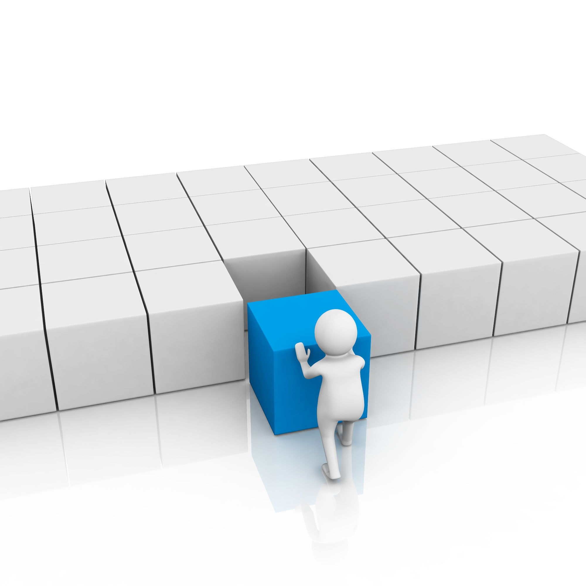 3d_man_pushing_blue_cube_inside_white_cubes_problem_solving_stock_photo_Slide01