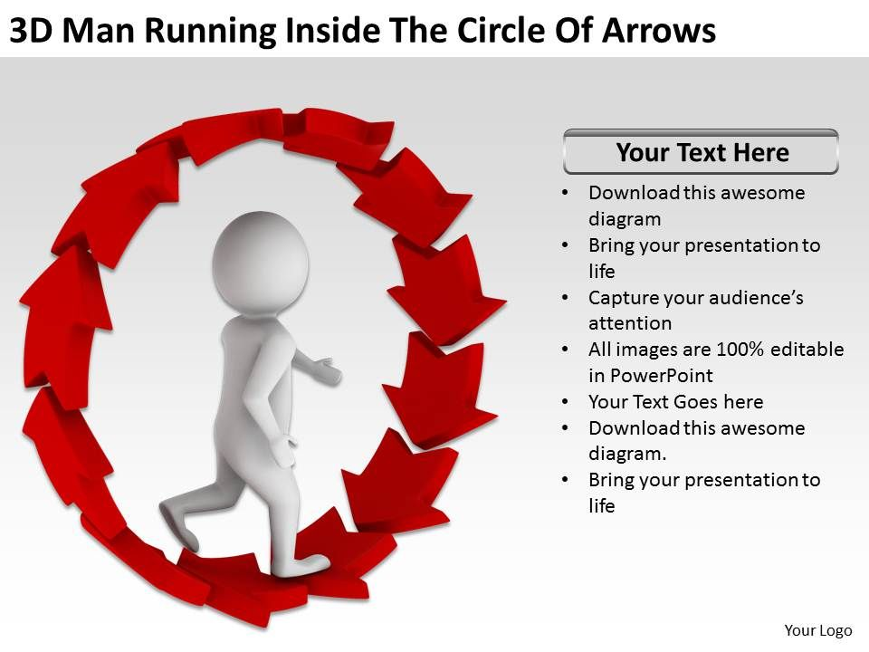 3d_man_running_inside_the_circle_of_arrows_ppt_graphics_icons_Slide01