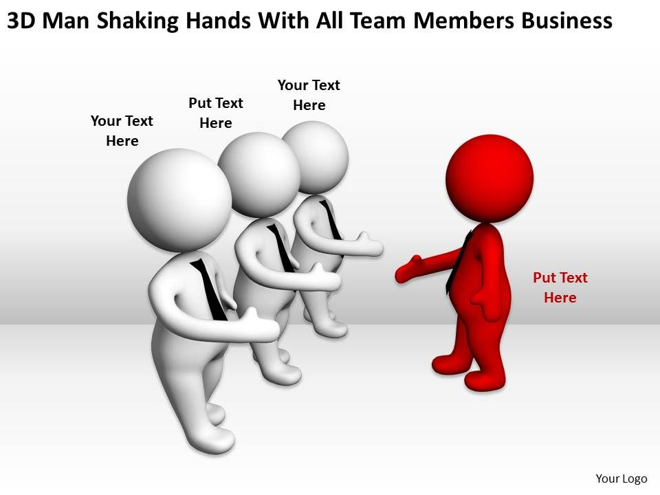 3d man shaking hands with all team members business ppt vector hand signs vector handshake icon