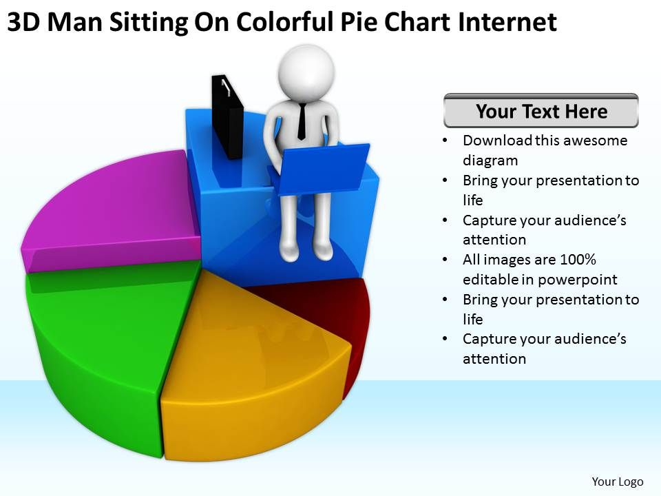3d Man Sitting On Colorful Pie Chart Internet Ppt Graphics Icons
