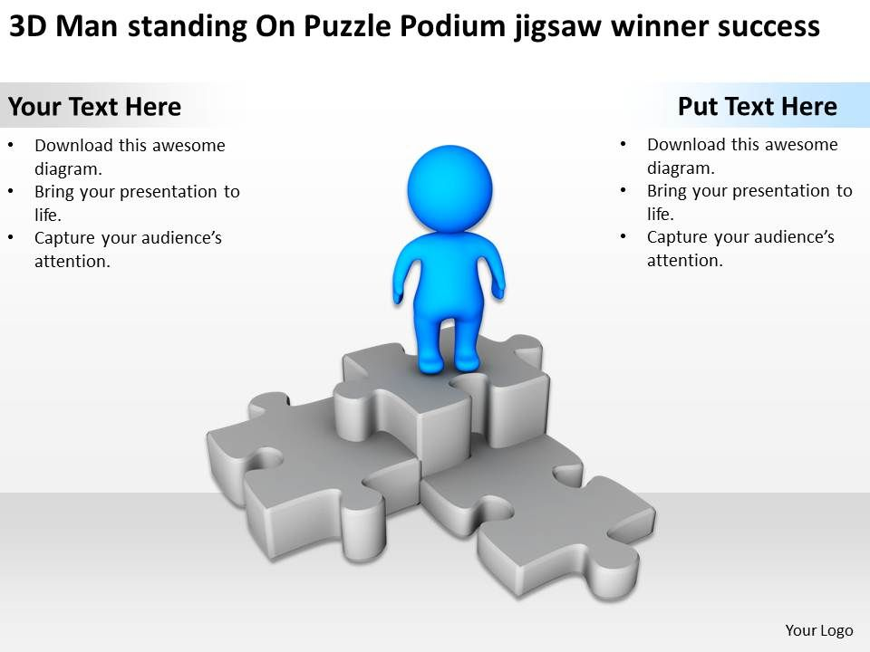 3d man standing on puzzle podium jigsaw winner success ppt, Presentation templates