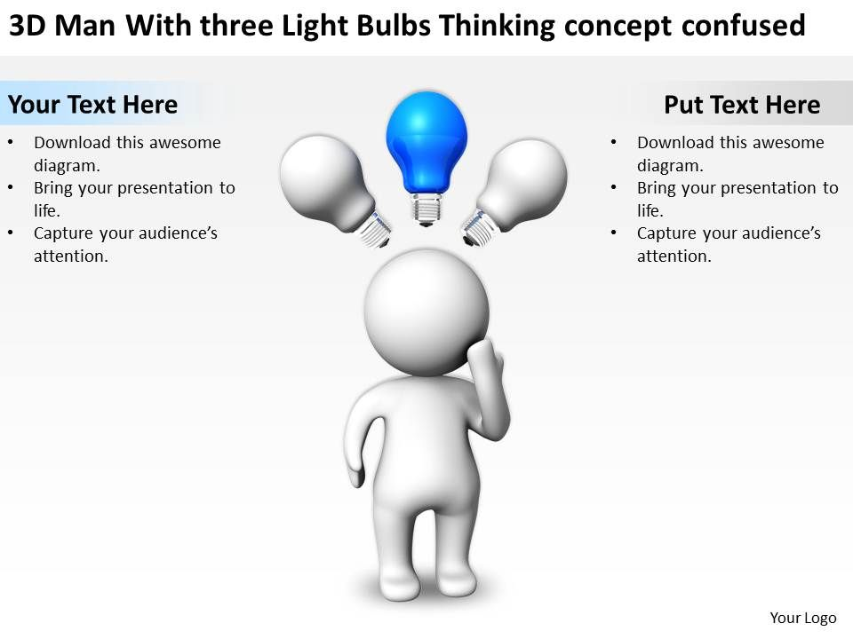 3d_man_with_three_light_bulbs_thinking_concept_confused_ppt_graphics_icons_Slide01