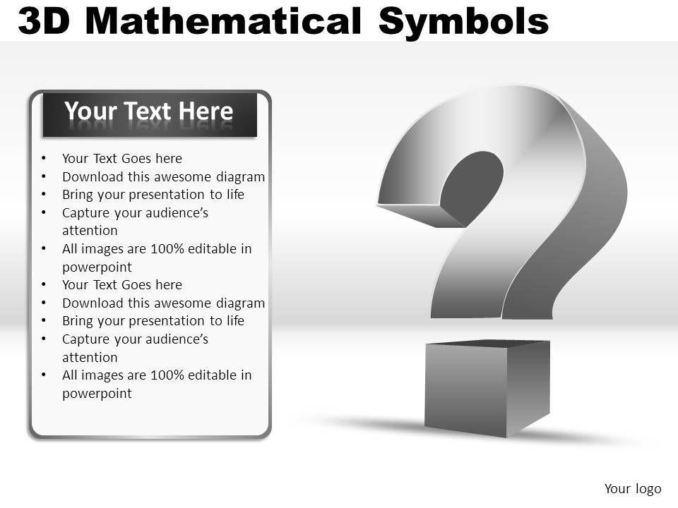 3d Mathematical Symbols Powerpoint Presentation Slides Powerpoint