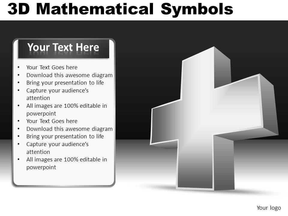 3D Mathematical Symbols Powerpoint Presentation Slides DB