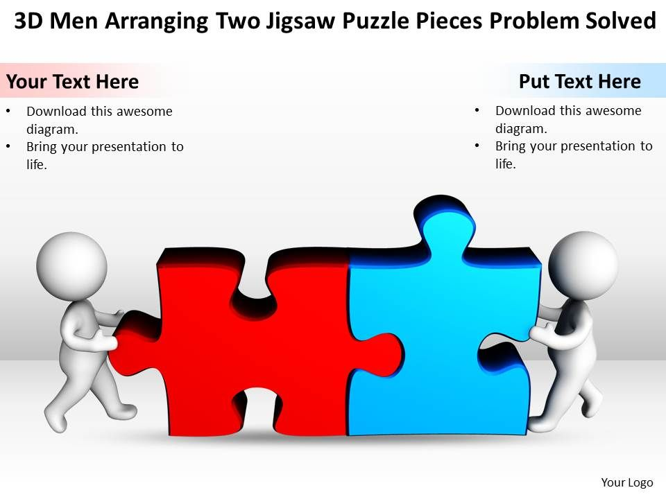 D Men Arranging Two Jigsaw Puzzle Pieces Problem Solved Ppt - Jigsaw graphic for powerpoint
