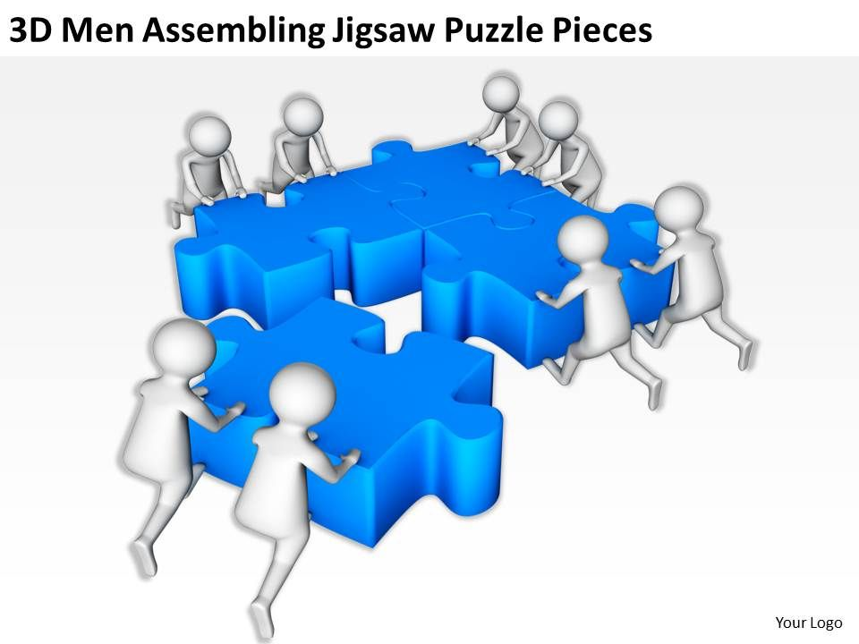 D Men Assembling Jigsaw Puzzle Pieces Ppt Graphics Icons Powerpoin - Jigsaw graphic for powerpoint