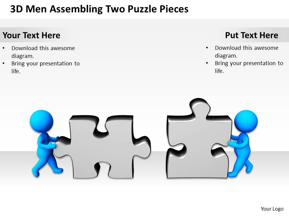 3d_men_assembling_two_puzzle_pieces_business_concept_ppt_graphics_icons_Slide01