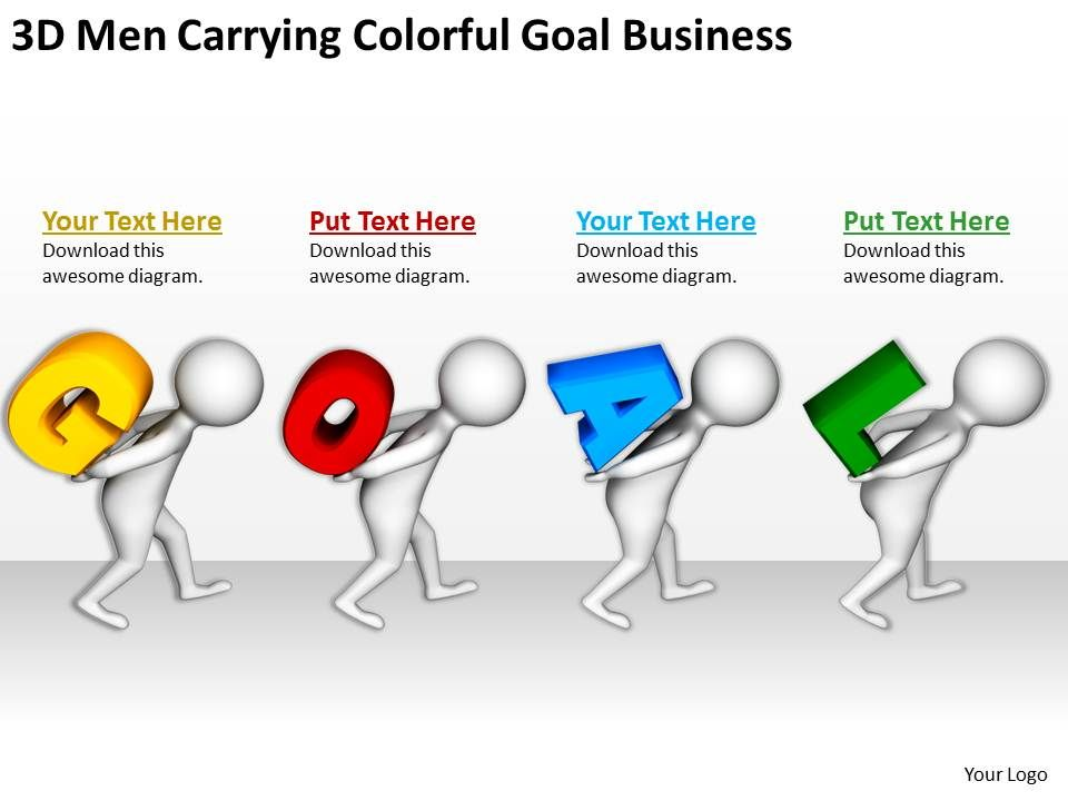 3D Men Carrying Colorful Goal Business Ppt Graphics Icons ...