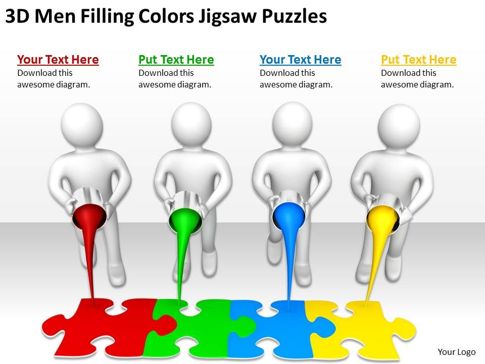 3d_men_filling_colors_jigsaw_puzzles_ppt_graphics_icons_powerpoint_Slide01