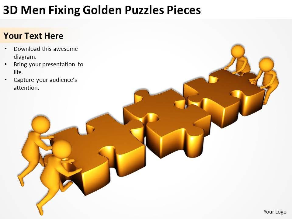 3d_men_fixing_golden_puzzles_pieces_ppt_graphics_icons_Slide01