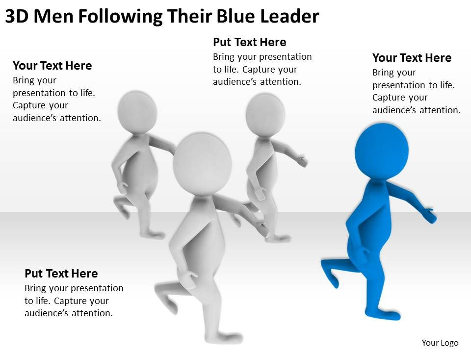 3d Men Following Their Blue Leader Ppt Graphics Icons Powerpoint Powerpoint Slide Templates Download Ppt Background Template Presentation Slides Images