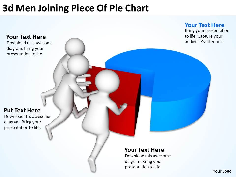 3d_men_joining_piece_of_pie_chart_ppt_graphics_icons_Slide01