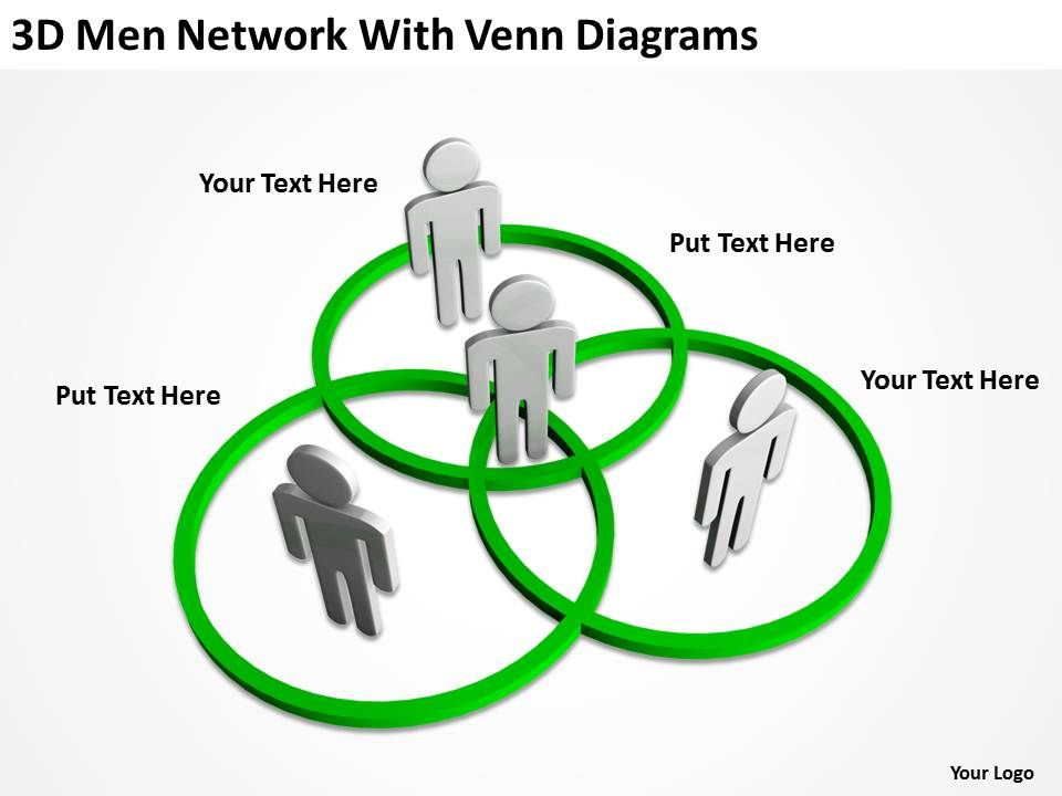 3d Men Network With Venn Diagram Ppt Graphics Icons Powerpoint
