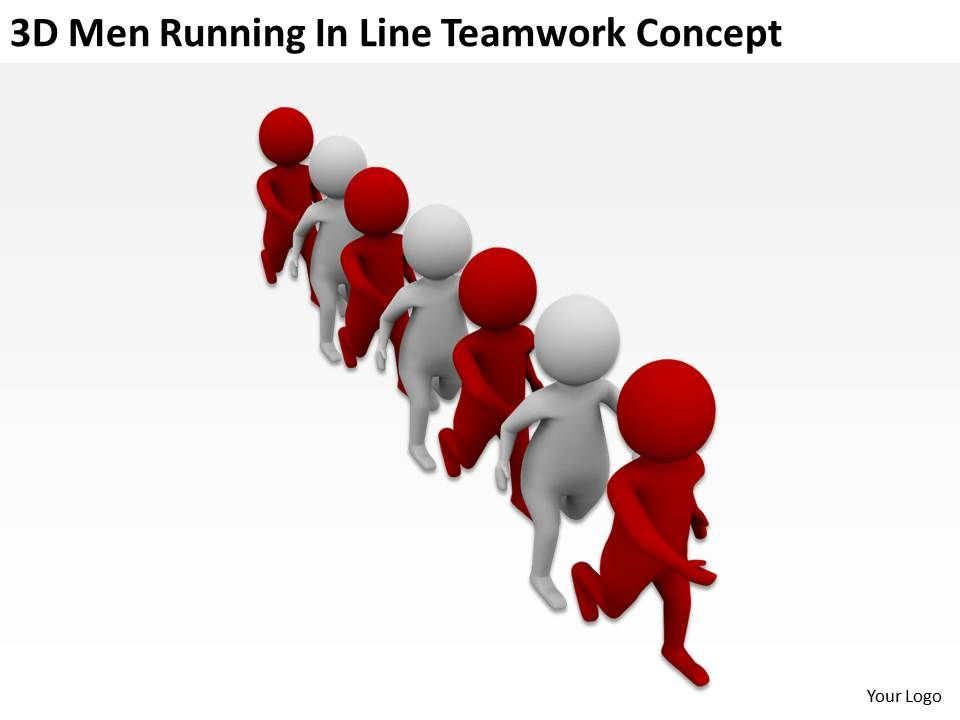 3d men running in line teamwork concept ppt graphics icons, Powerpoint templates