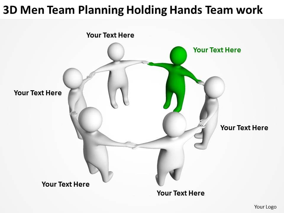 3D Men Team Planning Holding Hands Team Work Ppt Graphics