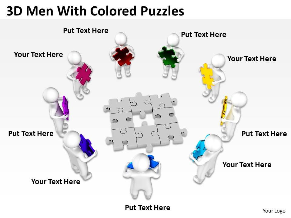 3d men with colored puzzles ppt graphics icons