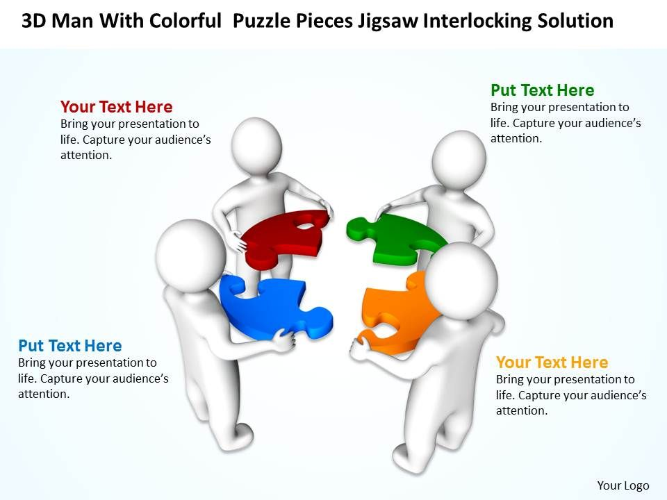 D Men With Colorful Puzzle Pieces Jigsaw Interlocking Solution Ppt - Jigsaw graphic for powerpoint