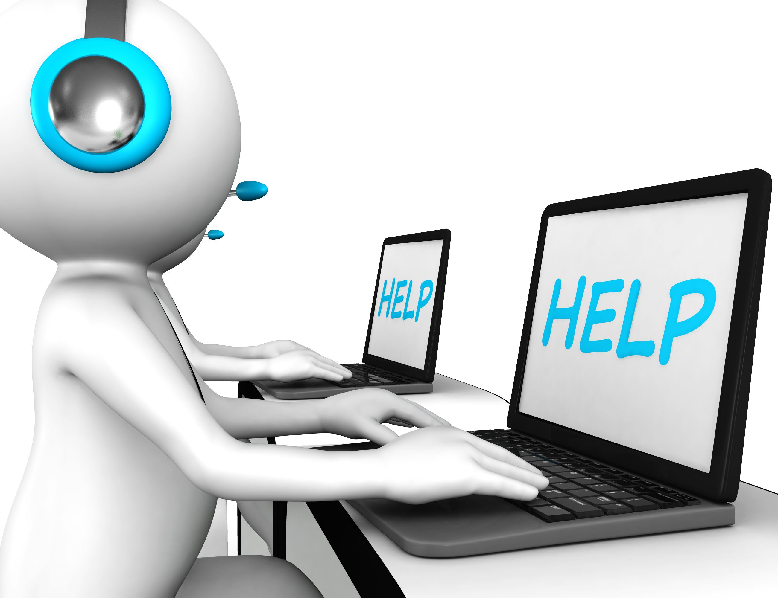 3d_men_with_laptop_displaying_word_help_for_customer_support_stock_photo_Slide01