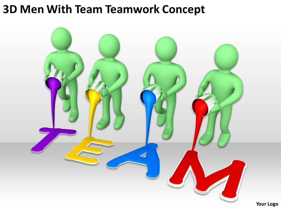 3d men with team teamwork concept ppt graphics icons powerpoint, Powerpoint templates