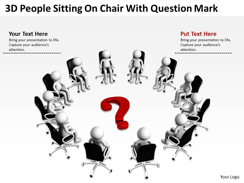 3d people sitting on chair with question mark ppt graphic