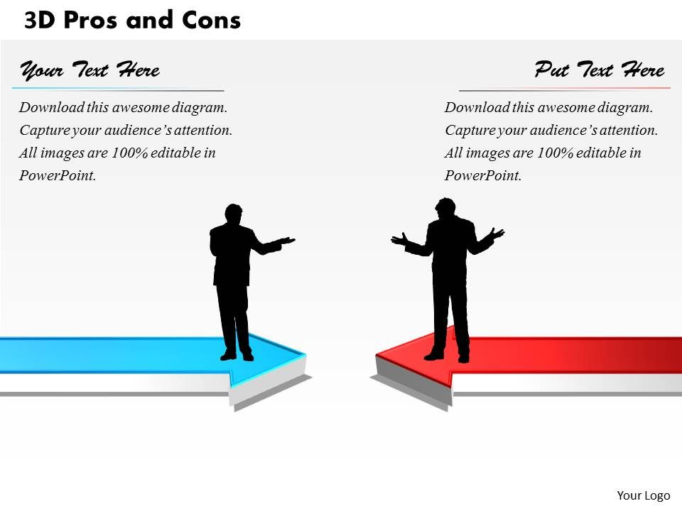 3D Pros And Cons PowerPoint Template Slide PowerPoint Presentation