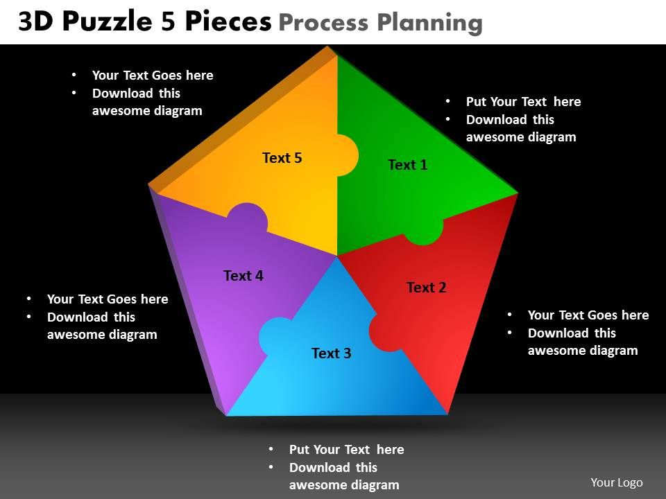 3d Puzzle 5 Pieces Process Planning Powerpoint Slides And Ppt Templates Db Slide01