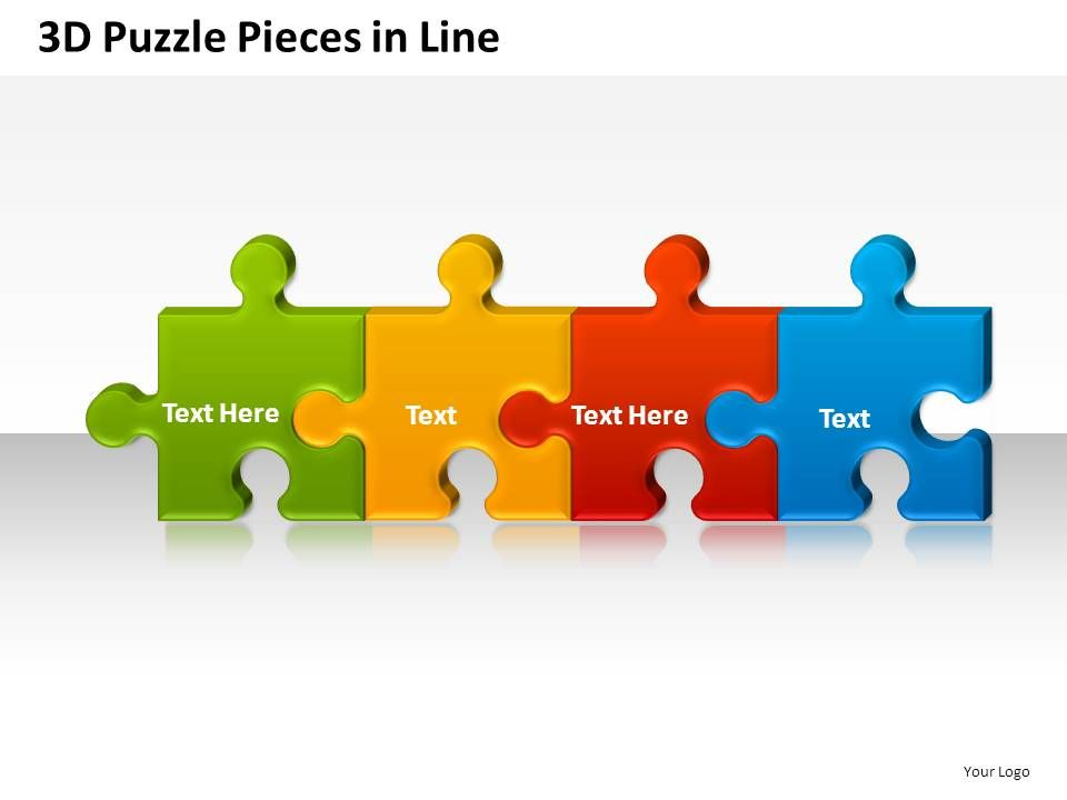 3D Puzzle Pieces In Line Powerpoint Presentation Slides | Template