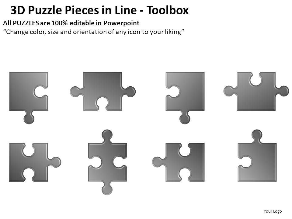 3d puzzle pieces in line powerpoint presentation slides | template, Powerpoint templates